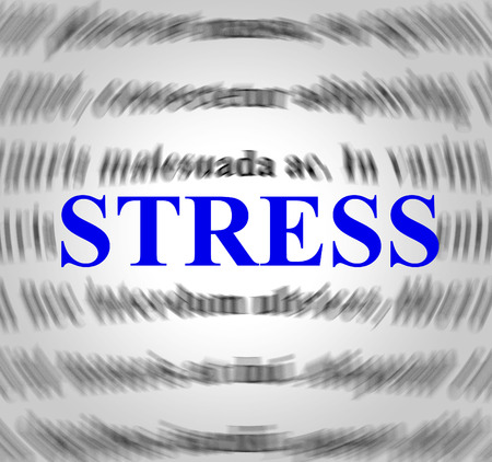 stressing: Stress Definition Representing Overworked Stressing And Sense Stock Photo