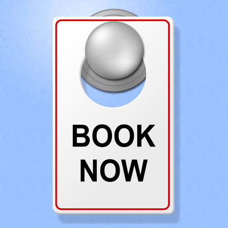 booked: Book Now Sign Showing Place To Stay And Double Room