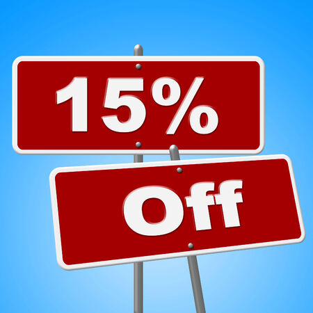 merchandise: Fifteen Percent Off Indicating Merchandise Save And Sale Stock Photo