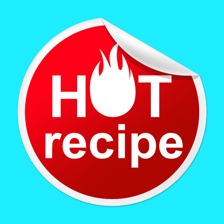 unrivalled: Hot Recipe Sticker Indicating Food Preparation And Meals Stock Photo