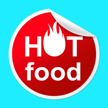 Hot Food Sticker Representing Foremost Cafeteria And Perfect photo