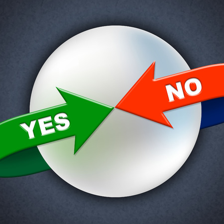 affirm: Yes No Arrows Indicating All Right And Denial Stock Photo