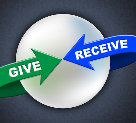 accrue: Give Receive Arrows Showing Donating Take And Allot