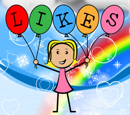 likes: Likes Balloons Meaning Young Woman And Girl Stock Photo