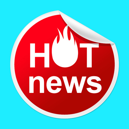 unrivalled: Hot News Sticker Indicating Number One And Journalism Stock Photo