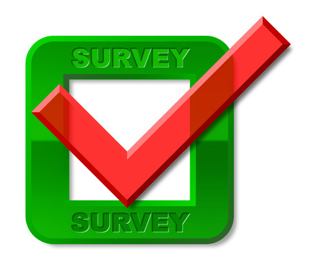 poll: Survey Tick Representing Surveying Mark And Poll Stock Photo