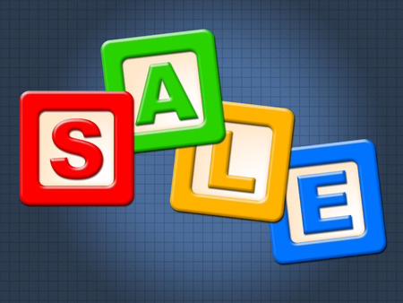 mailed: Sale Blocks Indicating Kid Youngster And Discounts Stock Photo