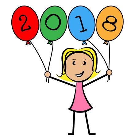 eighteen: Twenty Eighteen Balloons Showing Young Woman And Child Stock Photo