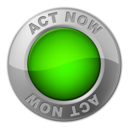 Act Now Button Representing At The Moment And Action