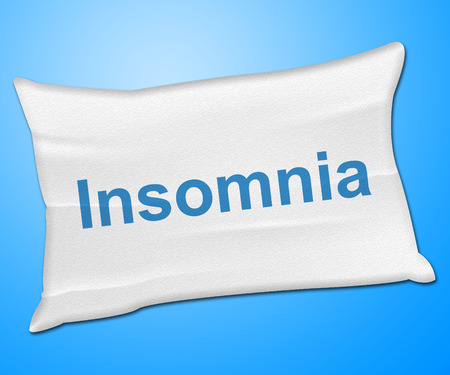 sleep disorder: Insomnia Pillow Representing Sleep Disorder And Bed
