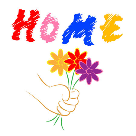 residential home: Home Flowers Representing Residential Building And Household Stock Photo