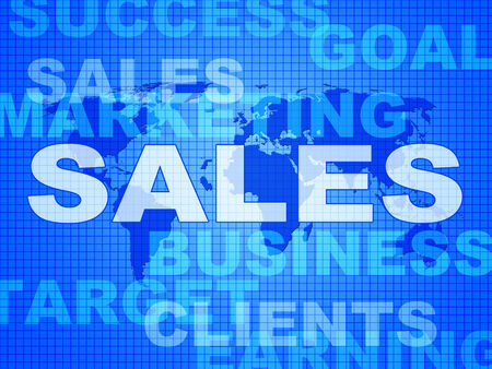 vend: Sales Words Showing Selling Biz And Promotion Stock Photo