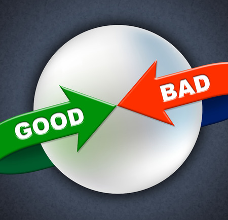 adequate: Good Bad Arrows Indicating All Right And Marvellous Stock Photo