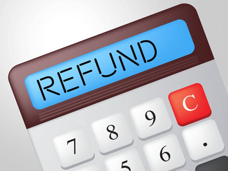 restitution: Refund Calculator Showing Discount Remuneration And Rebate Stock Photo