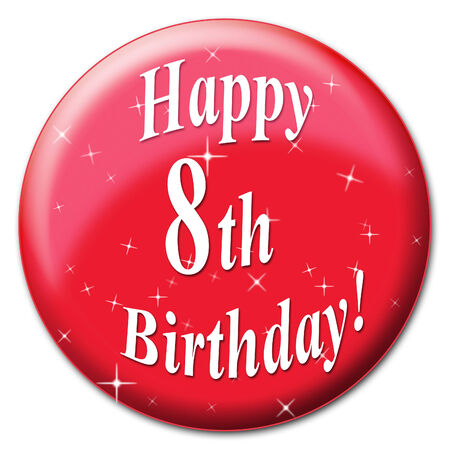 eighth: Happy Eighth Birthday Showing Congratulation Greeting And Congratulations