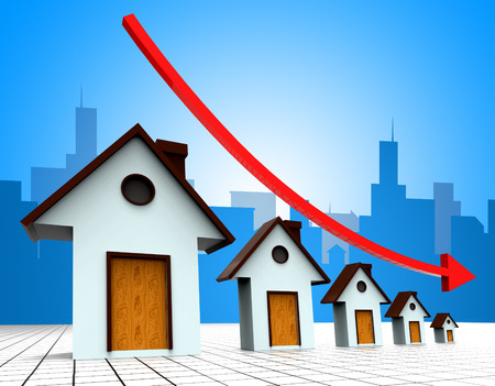 housing prices: House Prices Down Indicating Descend Downward And Housing