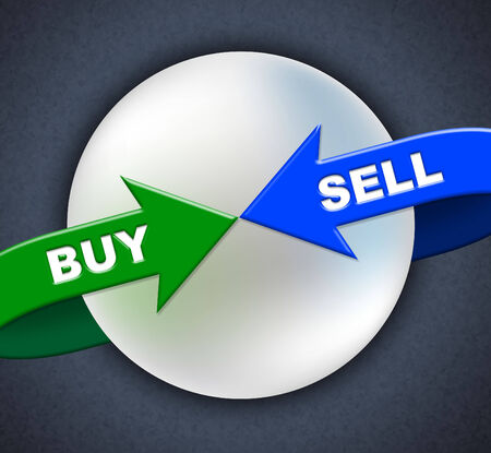 vend: Buy Sell Arrows Representing Purchase Sale And Vend