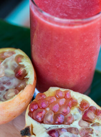 Pomegranate Smoothie Indicating Tropical Fruit And Ripe Stok Fotoğraf