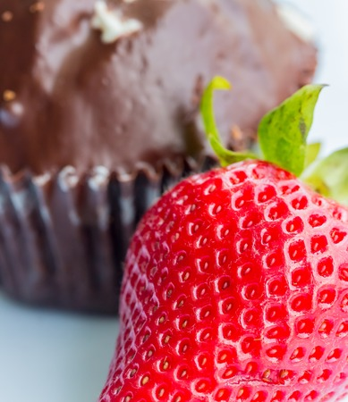indulgence: Strawberry And Cake Representing Indulgence Strawberries And Sweet Stock Photo