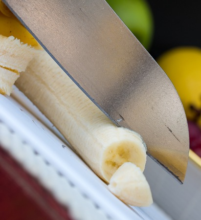 banana skin: Chopping Banana Showing Fruit Skin And Tropical Stock Photo