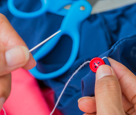 stitchwork: Sewing Button Showing Tailoring Fasten And Tailor