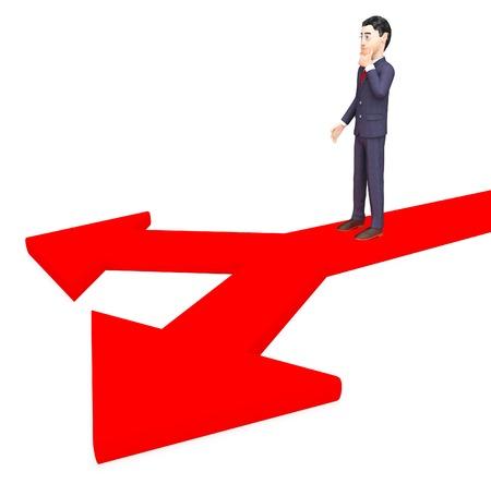 deciding: Businessman Deciding Indicating Company Option And Corporate