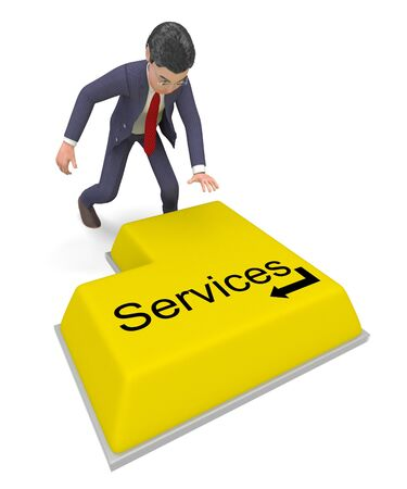 selecting: Businessman Selecting Services Meaning Presents Help And Commercial
