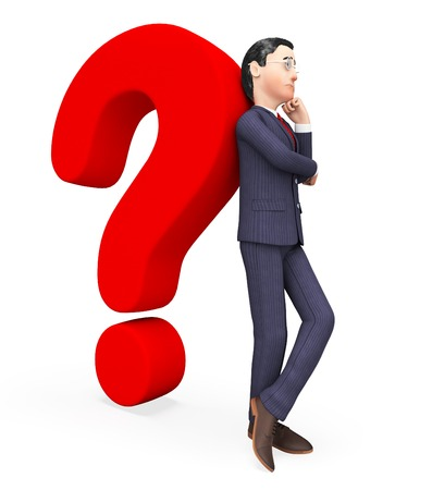 sure: Confused Businessman Indicating Frequently Asked Questions And Not Sure
