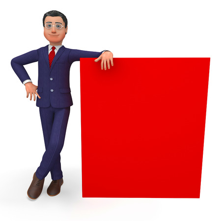 beside: Businessman Beside Signboard Representing Blank Space And Copy-Space