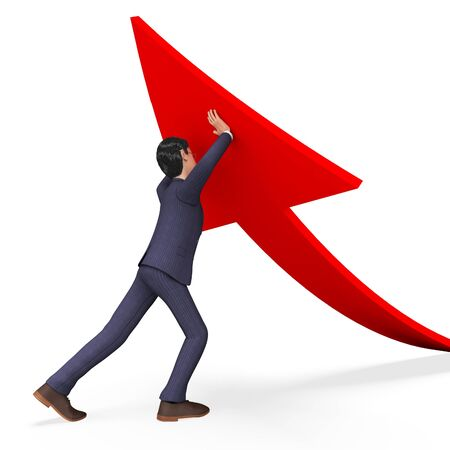 prevail: Businessman Pushing Arrow-Up Indicating Succeed Commerce And Carrying