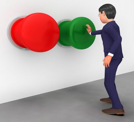 pushes: Businessman Pushes Button Indicating Get Going And Start