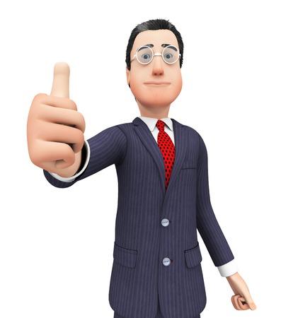 coincidir: Hombre de negocios muestra Aprobaci�n mostrando el pulgar y est� de acuerdo