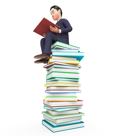 learned: Businessman Reading Books Representing Learned Schooling And Support