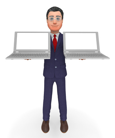 text space: Businessman Holding Laptops Representing Text Space And Monitor
