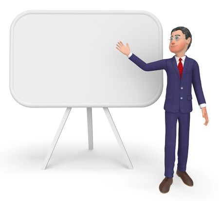 blank space: Businessman Presenting Representing Blank Space And Signboard