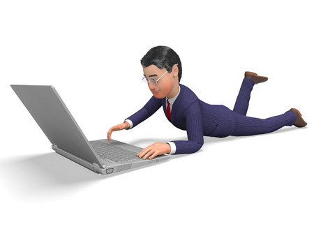 net trade: Businessman Online Representing World Wide Web And Website Stock Photo