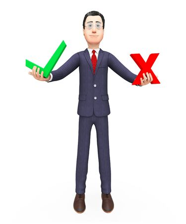 possibility: Businessman With Options Showing Possibility Voting And Choose Stock Photo