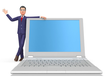?text space?: Businessman On Laptop Indicating Text Space And Trade