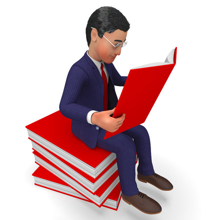 learned: Businessman Reading Books Showing Schooling Study And Educated