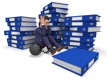 overburden: Businessman Overload Work Meaning Administration Folders And Executive Stock Photo