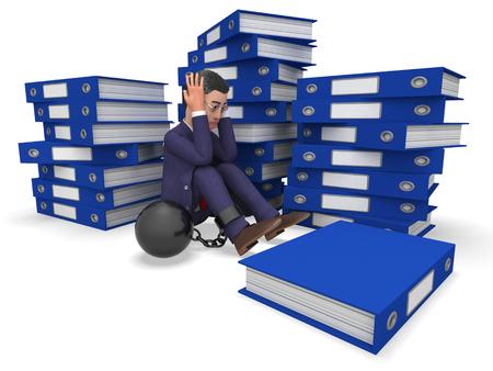 Homme d'affaires de surcharge de travail Signification dossiers de l'administration et de la direction