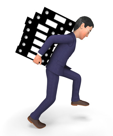 Businessman Carrying Files Indicating Paperwork Craving And Faq