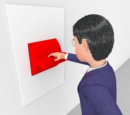 decide: Hombre de negocios con el interruptor de bot�n que indica Decide y Control