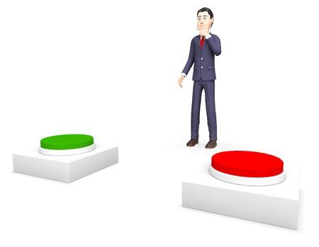 possibility: Businessman With Options Representing Possibility Decision And Switches