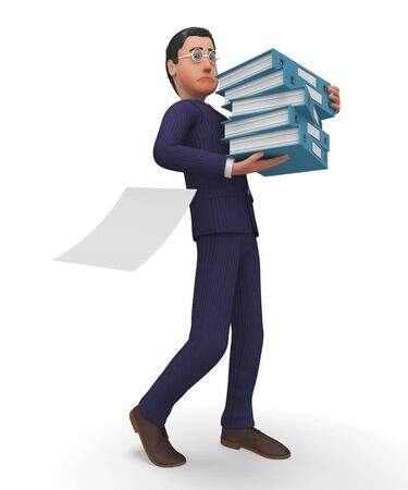 biz: Businessman With Files Representing Company Biz And Advisor Stock Photo