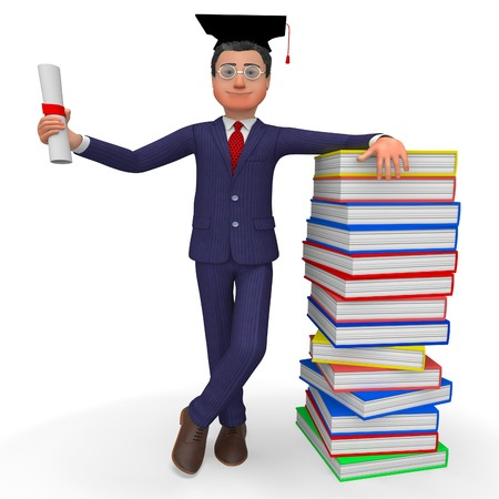 grad: Man With Diploma Showing New Grad And Training Stock Photo