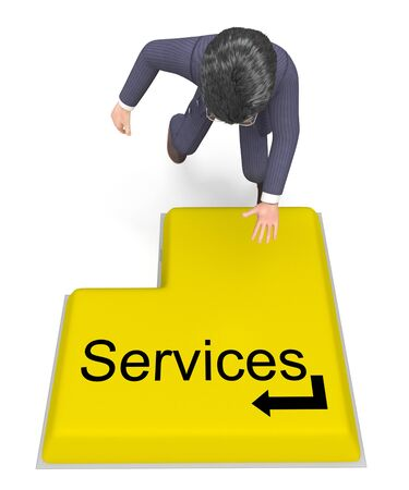 selecting: Businessman Selecting Services Representing Support Biz And Commerce Stock Photo