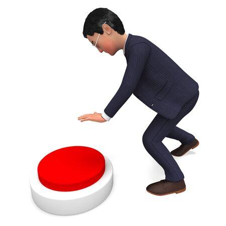 pushing button: Businessman Pushing Button Showing Pressing Executive And Biz