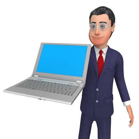 blank space: Businessman Presenting Indicating Blank Space And Commerce