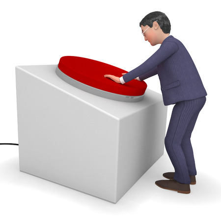 pushes: Businessman Pushed Button Indicating Corporation Pushes And Press Stock Photo